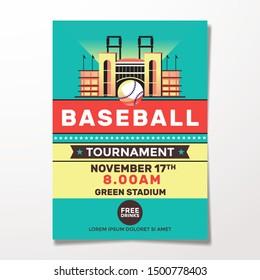 Vintage Baseball Tournament Flyer Template Illustration