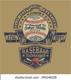 Vintage Baseball vector artwork for boy sport wear, grunge effect in separate layer