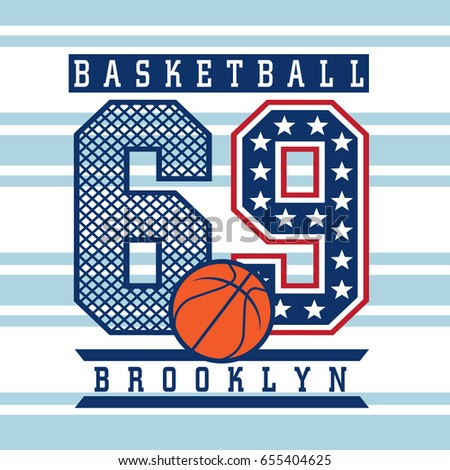 b1437914 Vintage basketball graphic with stared numbers and basket ball / Vector T- Shirt artwork design
