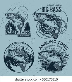 Vintage Bass Fishing Emblems and Labels. Vector Illustration