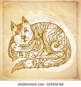 Vintage batik background of decorative patterned cat