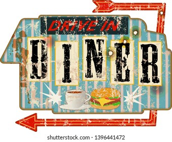 Vintage battered and distressed old diner sign, retro grungy vector illustration
