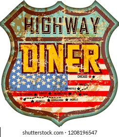 vintage and battered enamel american highway diner sign, retro style, vector illustration