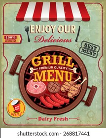 Vintage BBQ grill menu poster design with sausage, meat, beef. chicken