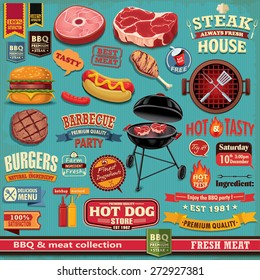 Vintage BBQ meat poster design element