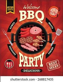 Vintage BBQ party menu poster design with sausage, meat, beef. chicken, bacon