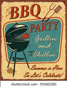 Vintage BBQ poster