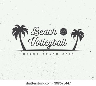Vintage beach volleyball label, emblem or logo. Vector illustration