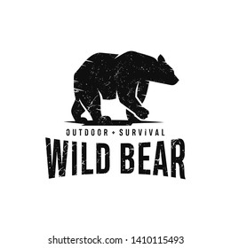 Vintage Bear Logo Template Vector