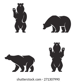 Vintage bear mascot, emblems, symbols, icons set. Can be used for T-shirts print, labels, badges, stickers, logotypes vector illustration.