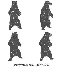 Vintage bear mascot, emblems, symbols, icons set. T-shirts print, labels, badges, stickers, logotypes vector illustration.