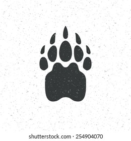 Vintage bear paw mammal symbol. Can be used for T-shirts print, labels, badges, stickers, logotopypes vector illustration.