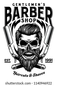 Vintage Bearded Barber Skull With Crossed Razors