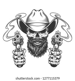 Vintage bearded and mustached cowboy skull with skeleton hands holding pistols isolated vector illustration