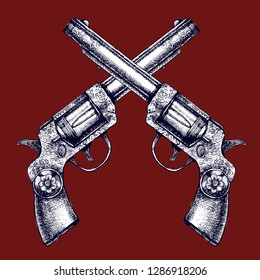 Vintage beautiful revolvers with unusual pattern. Hand-drawn vector illustration with two retro guns for your design.
