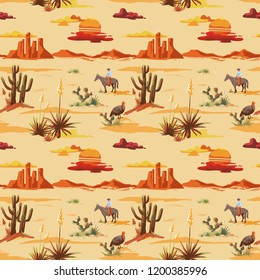 Vintage beautiful seamless desert illustration pattern. Landscape with cactuse, mountains, cowboy on horse, sunset vector hand drawn style background