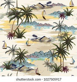 Vintage Beautiful seamless island pattern on white background. Landscape with palm trees,beach and ocean vector hand drawn style on light beige color background.
