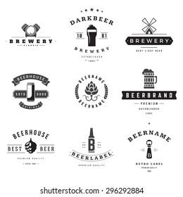 Vintage beer brewery logos, emblems, labels, badges and design elements