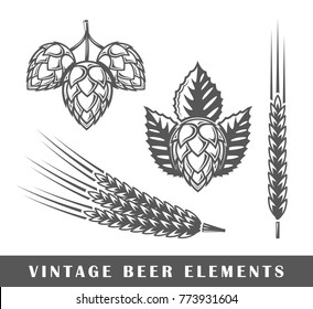 Vintage beer elements. Vector illustration