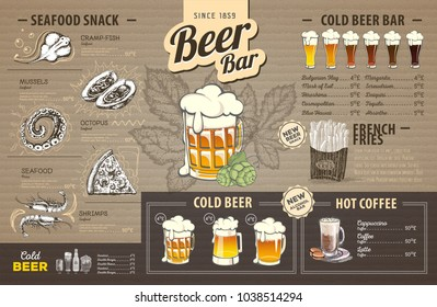 Vintage beer menu design on cardboard. Restaurant menu
