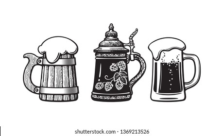Vintage beer mugs. Old wooden mug, German stein and glass with foam. Brewery, beer festival, bar, pub design. Hand drawn vector illustration isolated on white backgraund.