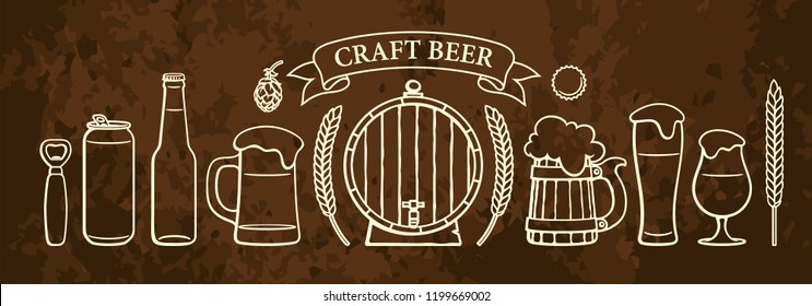 Vintage beer objects set. Glasses of different shape, mugs, old wooden barrel, bottle, can, opener, cap, barley, wheat, ribbon banner with text Craft Beer.  Hand drawn isolated vector illustration.