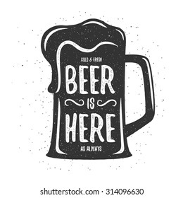 Vintage beer print. T-shirt, poster design. Cold and fresh beer is here as always. Vector illustration.