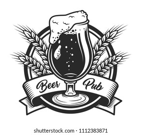 Vintage beer pub label template with glass of alcohol beverage wheat ears and ribbon isolated vector illustration
