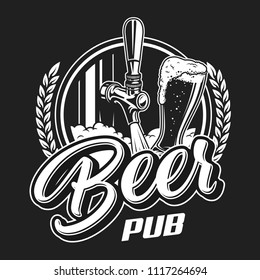 Vintage beer pub logotype concept with tap glass full of alcohol beverage, wheat ears on black background isolated vector illustration