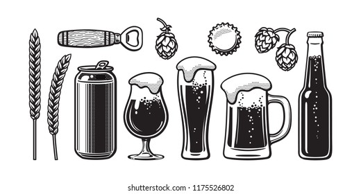 Vintage beer set. Barley, wheat, can, glass, mug, bottle, opener, hop, bottle cap. Vector illustration. Brewery, beer festival, bar, pub design. Hand drawn vector isolated on white backgraund.