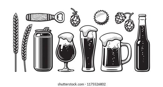 Vintage beer set. Barley, wheat, can, glass, mug, bottle, opener, hop, bottle cap. Vector illustration. Brewery, beer festival, bar, pub design. Hand drawn vector isolated on white backgraund.