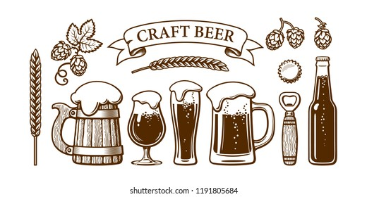 Vintage beer set. Old wooden mug, glasses, opener, barley, wheat, hop, bottle cap. Vector illustration. Brewery, beer festival, bar, pub design. Hand drawn vector isolated on white backgraund.