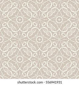 Vintage beige swirly ornament, vector seamless pattern in neutral color