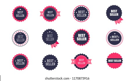 Vintage Bestseller Vector Icons. Set Of Isolated On White Background Bestseller Labels.