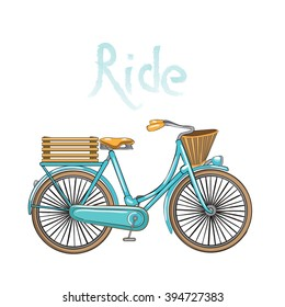 vintage bicycle with basket and box on a white background . Turquoise or blue bike - vector illustration
