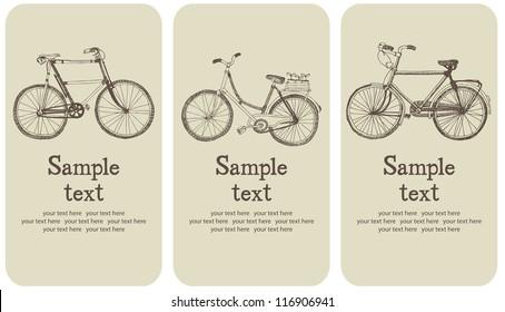 Vintage bicycle card set