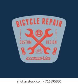 vintage bicycle shop and repair badge. bike sales and service logo. vector illustration