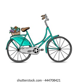Vintage bicycle vector illustration. Hand drawn bicycle with basket and flowers