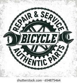 Vintage bicycles repair shop logo design,  grange print stamp, creative typography emblem, Vector