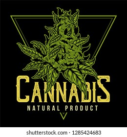 Vintage big green piece of cannabis for medical smoking natural product of marijuana hemp weed. illustration fashion print for t shirt sweatshirt embroidery clothes design poster sticker patch banner.
