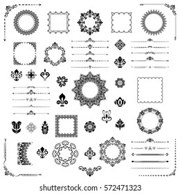 Vintage big set of classic elements. Different vector elements for decoration and design frames, cards, menus, backgrounds and monograms. Classic patterns. Set of vintage patterns.