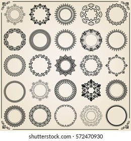 Vintage big set of round elements. Different vector elements for decoration and design frames, cards, menus, backgrounds and monograms. Classic patterns. Set of vintage patterns.