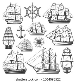 Vintage big ships collection with different vessels boats steering wheel anchor and navigational compass isolated vector illustration