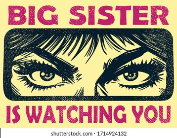 Vintage big sister watching you spying eyes surveillance, family authority and privacy violation concept vector illustration