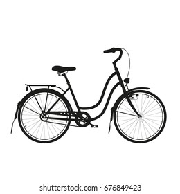 Vintage bike black silhouette.