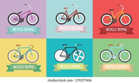 Vintage bike \ Fixed gear \ Simple \ Flat design