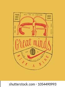 vintage bike typography label print - great minds ride a bike