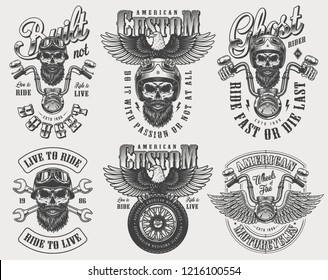 Vintage biker and motorcyclist logos set with motorcycle driver skulls in helmet steering wheel tire crossed wrenches eagle isolated vector illustration