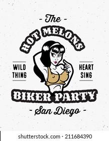 Vintage biker party apparel print poster design, seductive sexy girl, vector illustration
