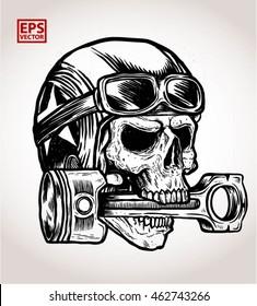 vintage biker skull bite a piston print vector and illustration